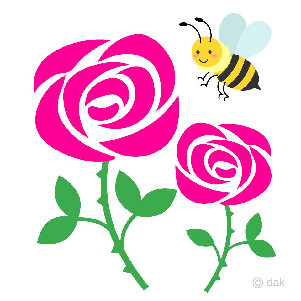 可愛いハチとバラの無料イラスト素材 イラストイメージ