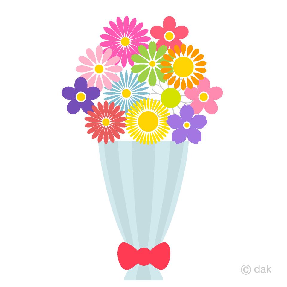 可愛いカラフルな花束の無料イラスト素材イラストイメージ