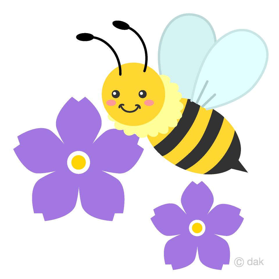 かわいいミツバチとスミレの花の無料イラスト素材 イラストイメージ