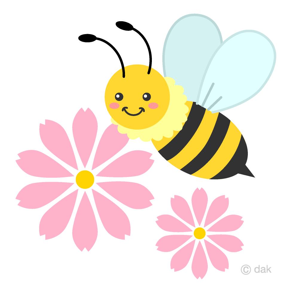 かわいいミツバチとコスモスの花の無料イラスト素材 イラストイメージ