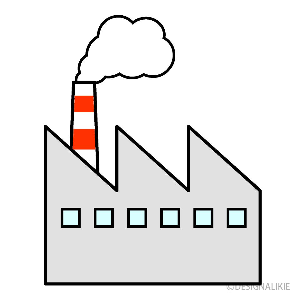 煙の出る工場の無料イラスト素材イラストイメージ