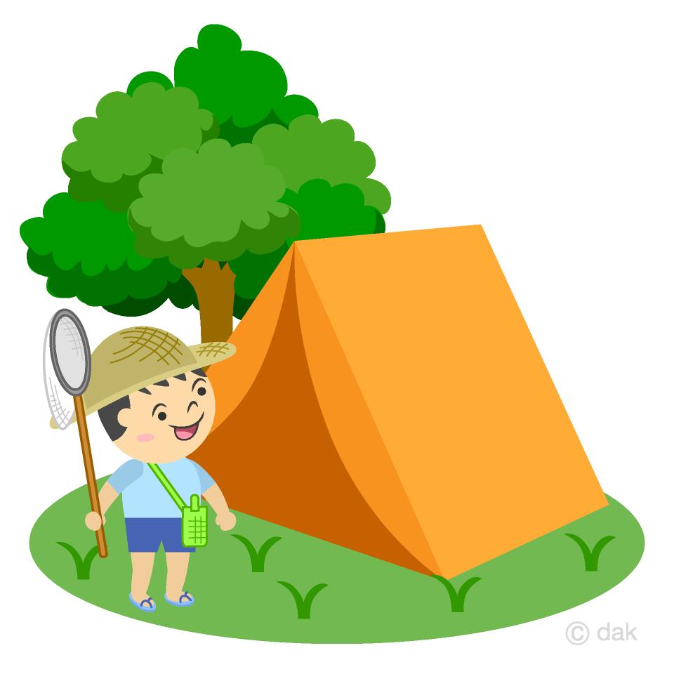 キャンプする男の子