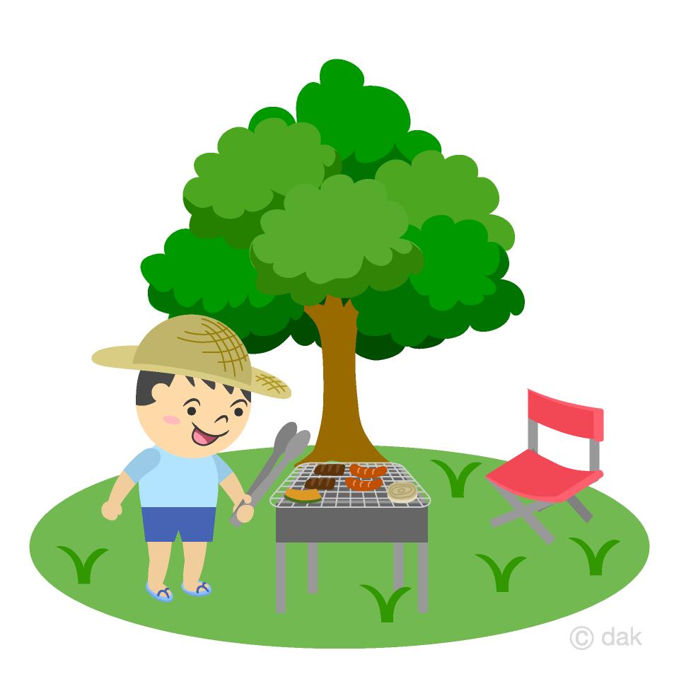 バーベキューする男の子の無料イラスト素材イラストイメージ
