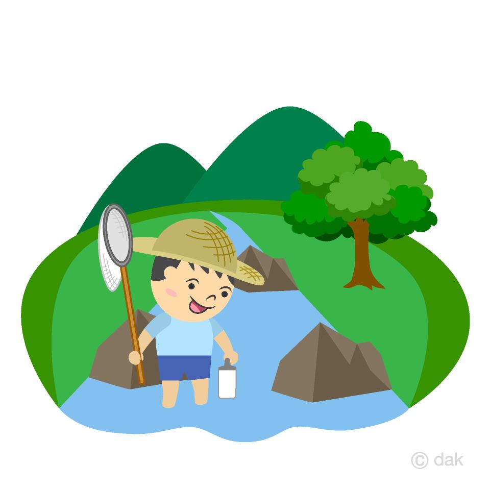 川遊びする男の子の無料イラスト素材イラストイメージ