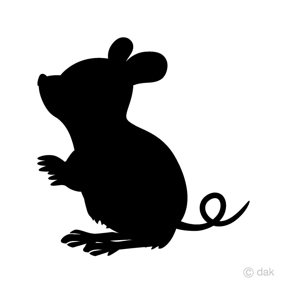 見上げる鼠シルエットの無料イラスト素材|イラストイメージ