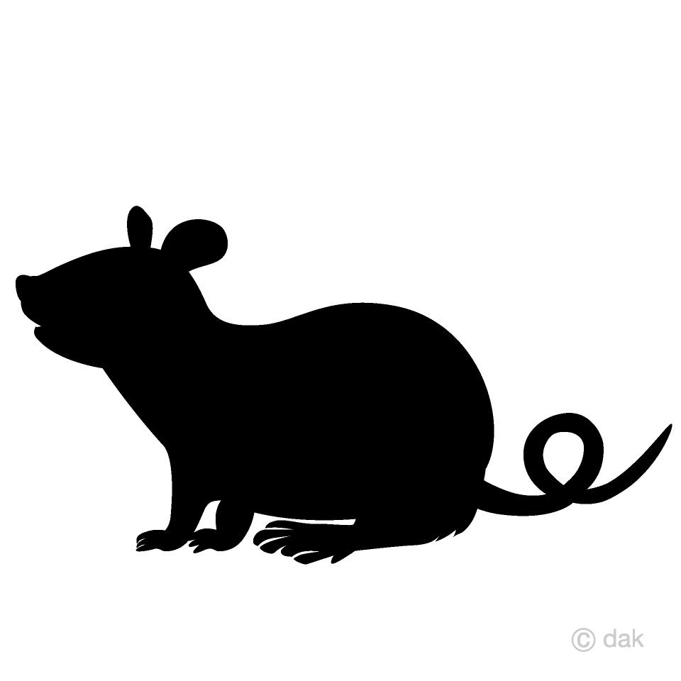 ネズミの白黒シルエットの無料イラスト素材|イラストイメージ