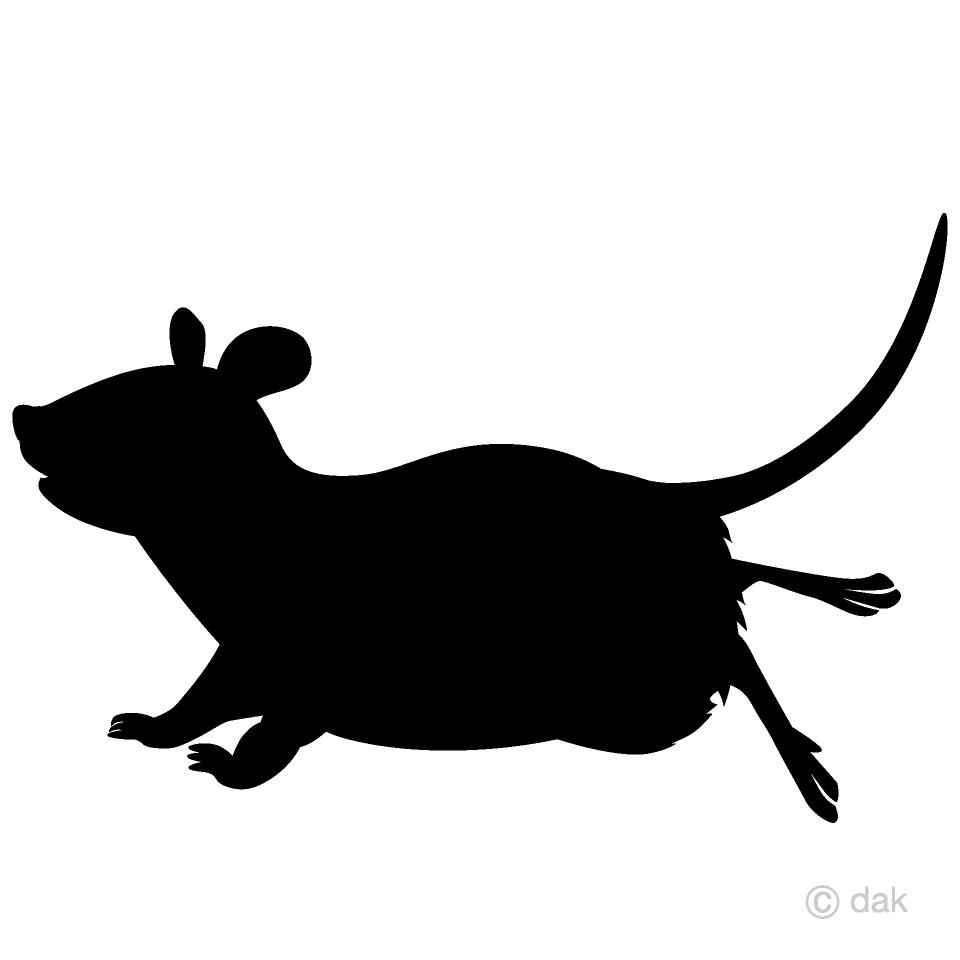走るネズミのシルエットの無料イラスト素材|イラストイメージ