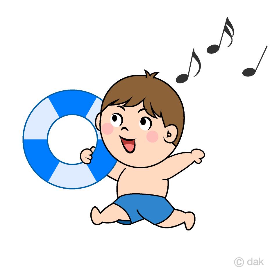 水遊びする男の子の無料イラスト素材イラストイメージ