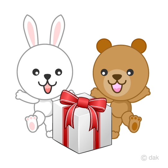 Bears and rabbits who rejoice gifts
