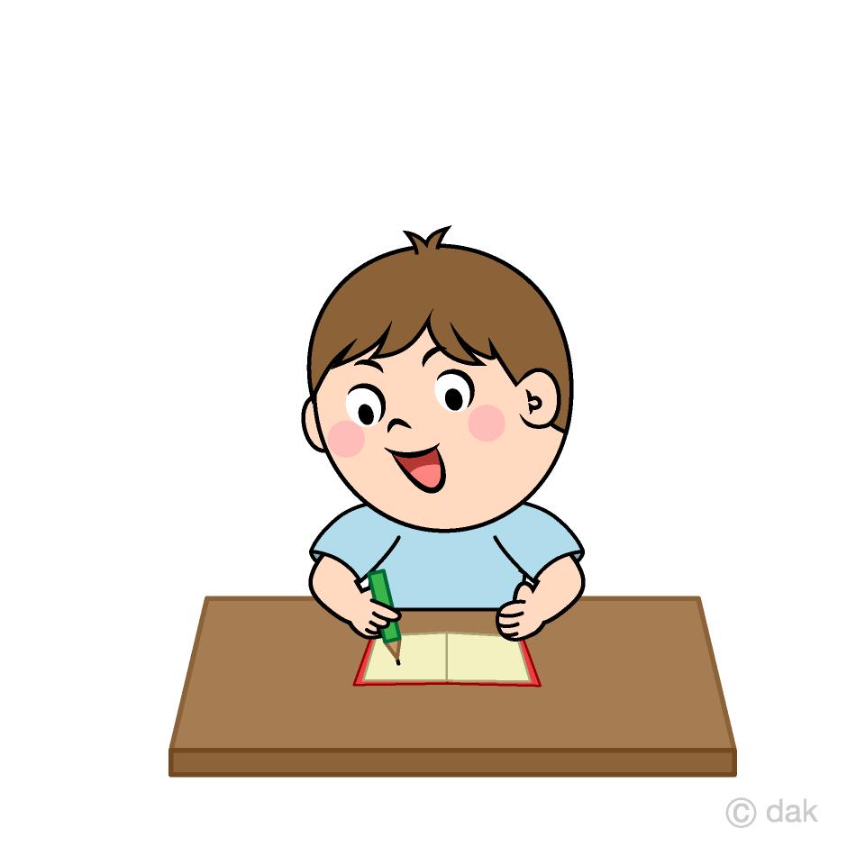 字を書く男の子の無料イラスト素材イラストイメージ