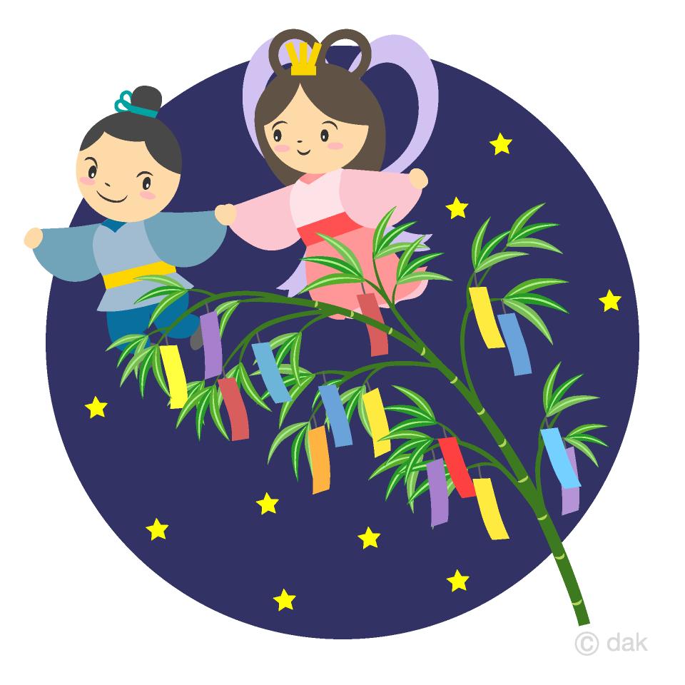 夜空の七夕短冊と織姫彦星の無料イラスト素材イラストイメージ