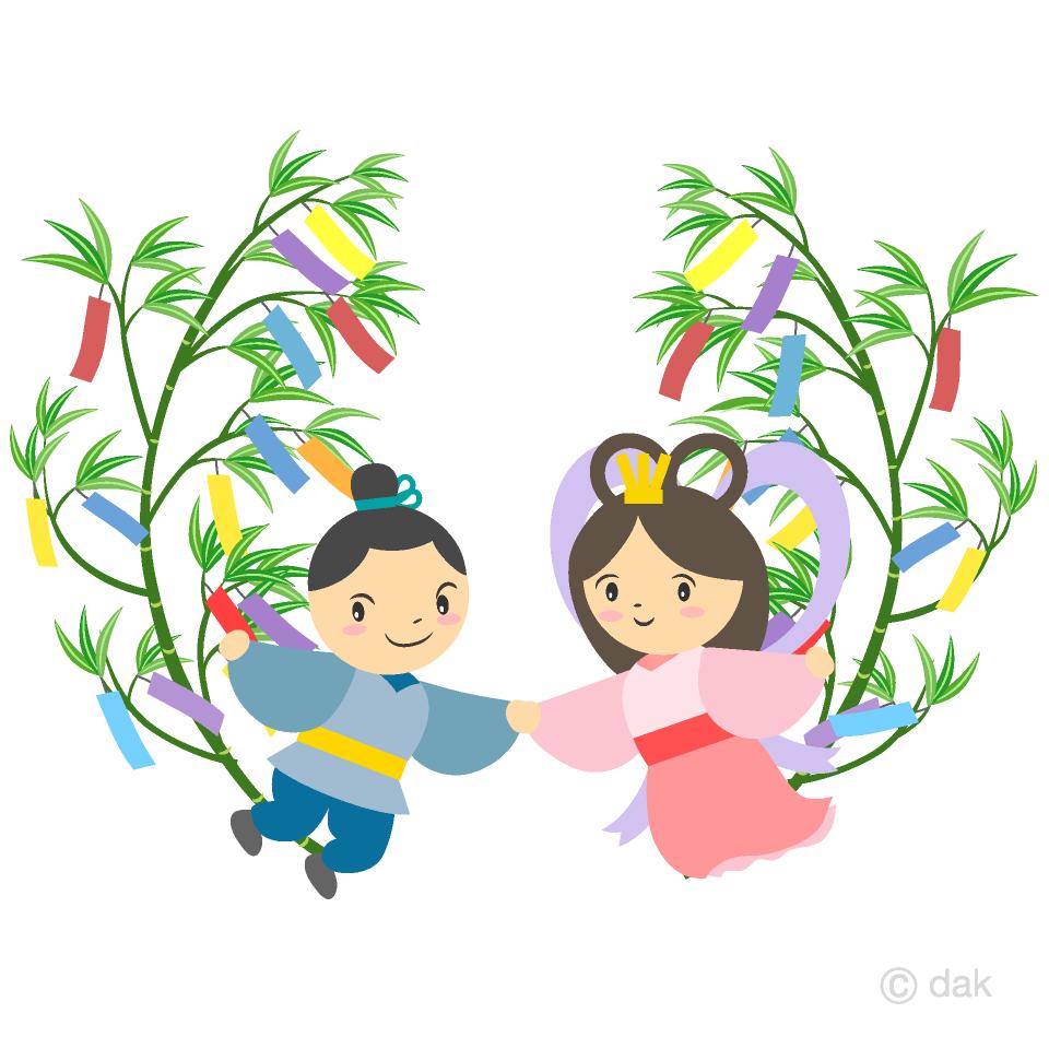 笹の葉と織姫彦星の無料イラスト素材イラストイメージ