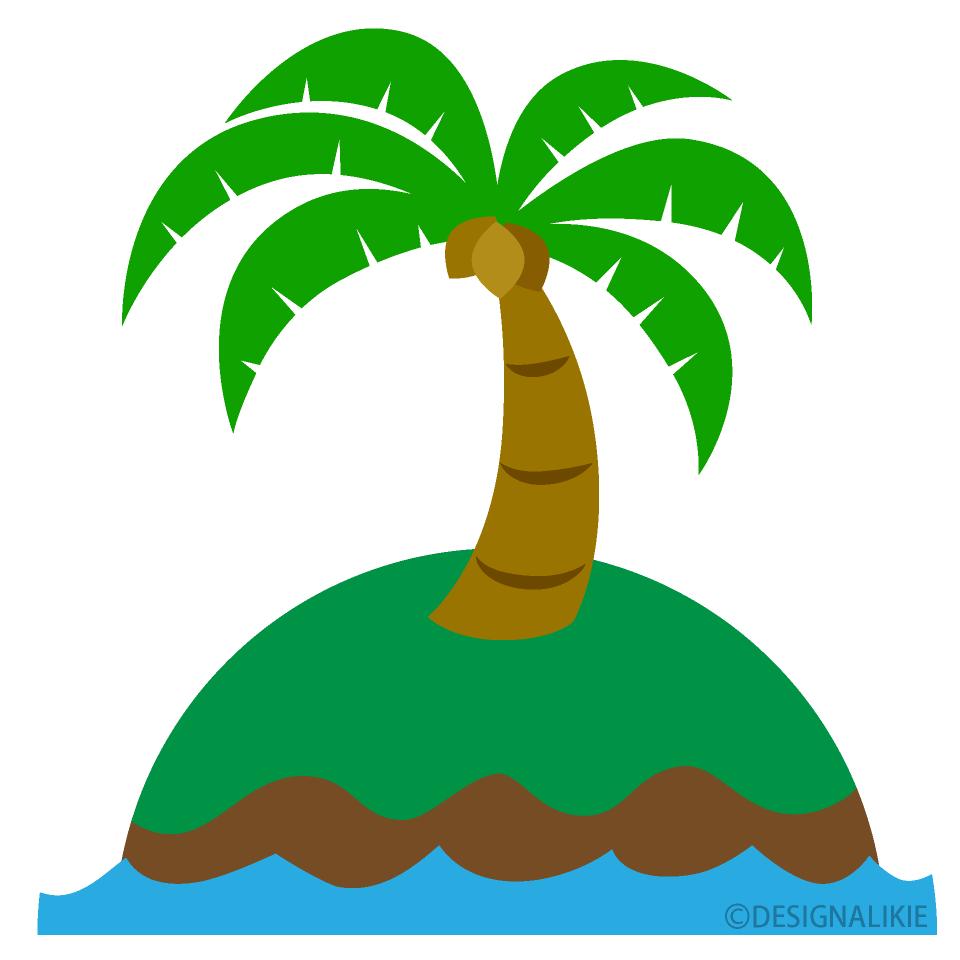 無人島のヤシの木の無料イラスト素材|イラストイメージ