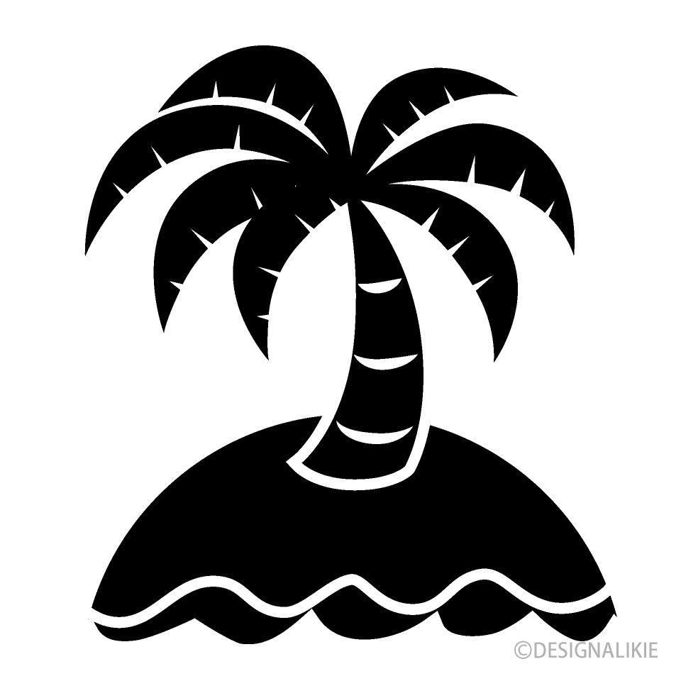 島のヤシの木シルエットの無料イラスト素材イラストイメージ