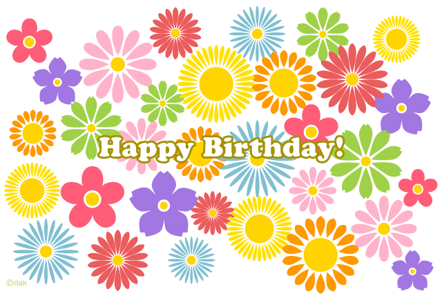 Flower garden of birthday card