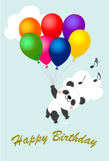 Flying Panda birthday card