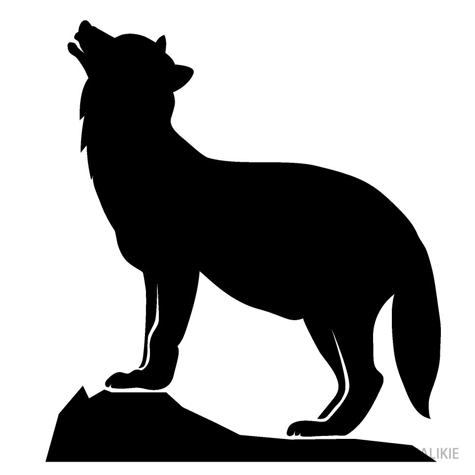 岩の上で遠吠えする狼シルエットイラストのフリー素材 イラストイメージ
