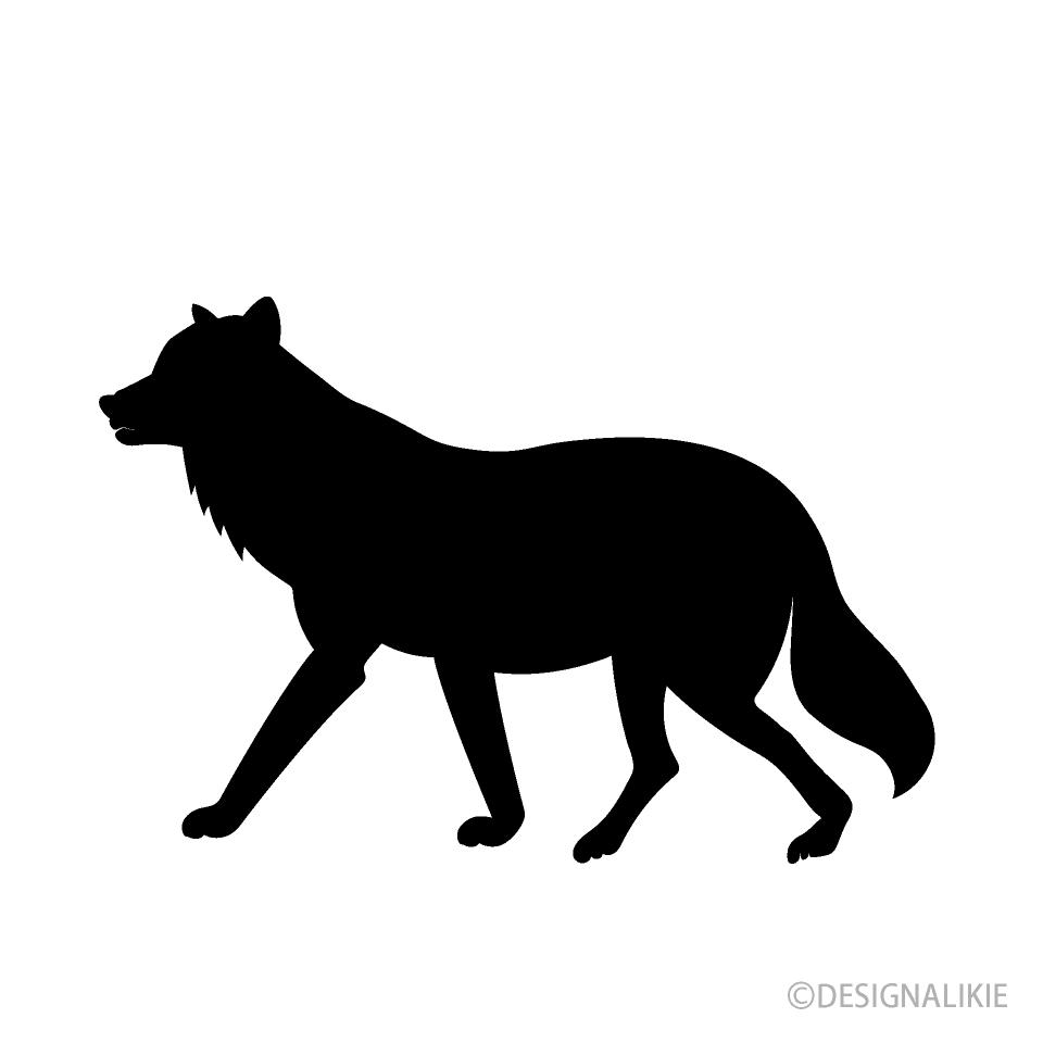 歩く狼シルエットイラストのフリー素材 イラストイメージ