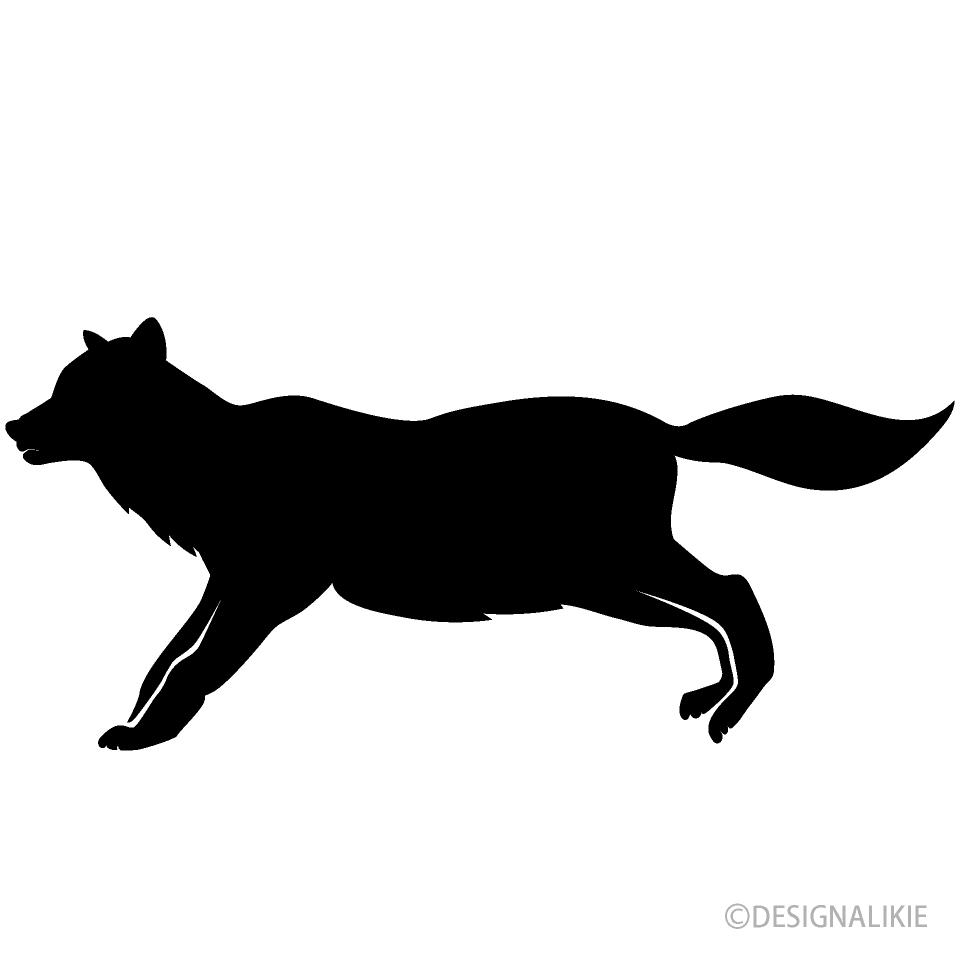 走る狼シルエットイラストのフリー素材 イラストイメージ