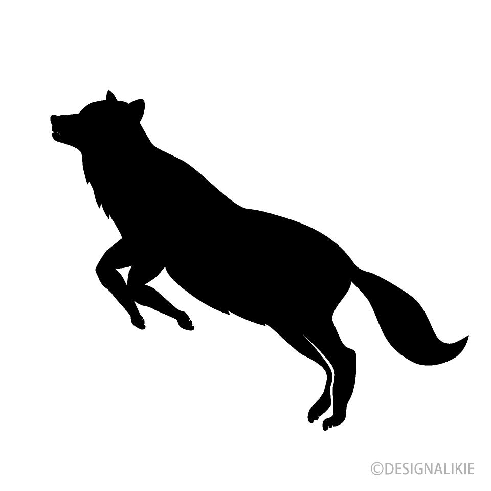 ジャンプする狼シルエットイラストのフリー素材 イラストイメージ