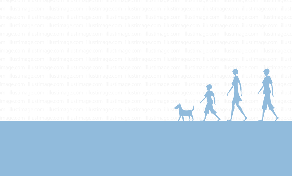 A family walking silhouette