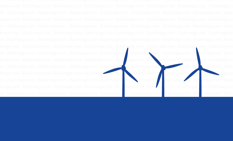 Windmill power generation silhouette