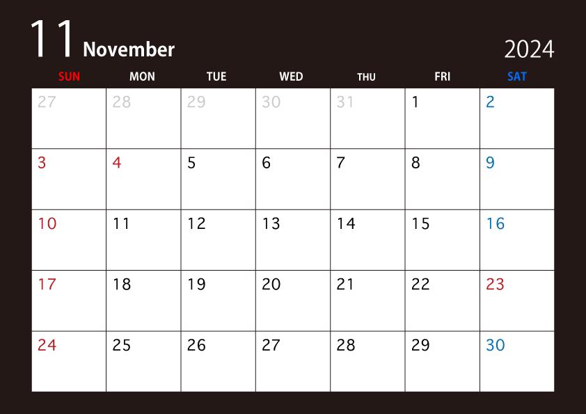 年11月の黒カレンダーの無料イラスト素材 イラストイメージ