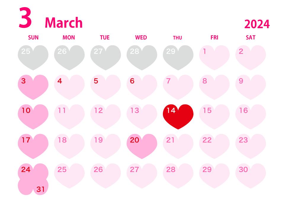 年3月のハートカレンダーの無料イラスト素材 イラストイメージ