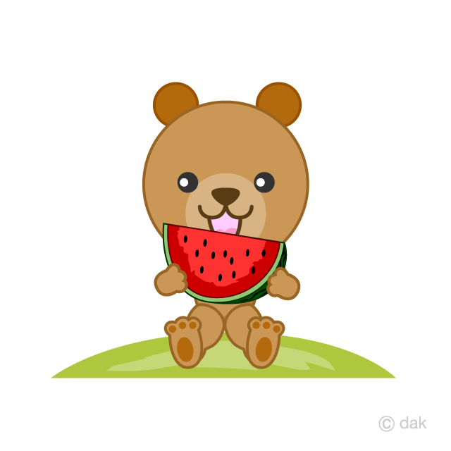 A bear to eat watermelon