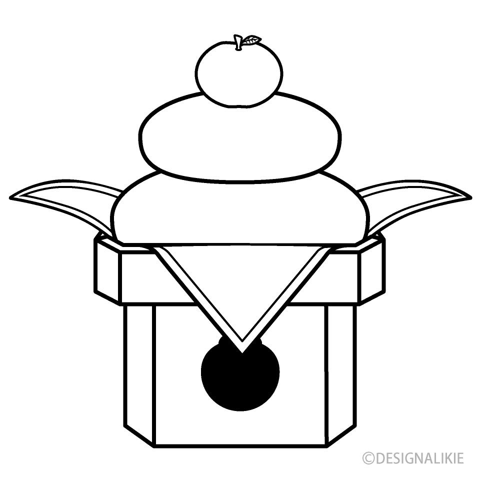 白黒の鏡餅の無料イラスト素材イラストイメージ