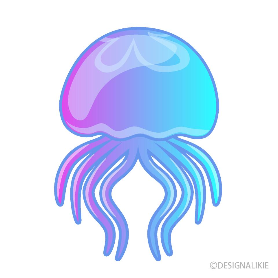綺麗な泳ぐクラゲの無料イラスト素材 イラストイメージ
