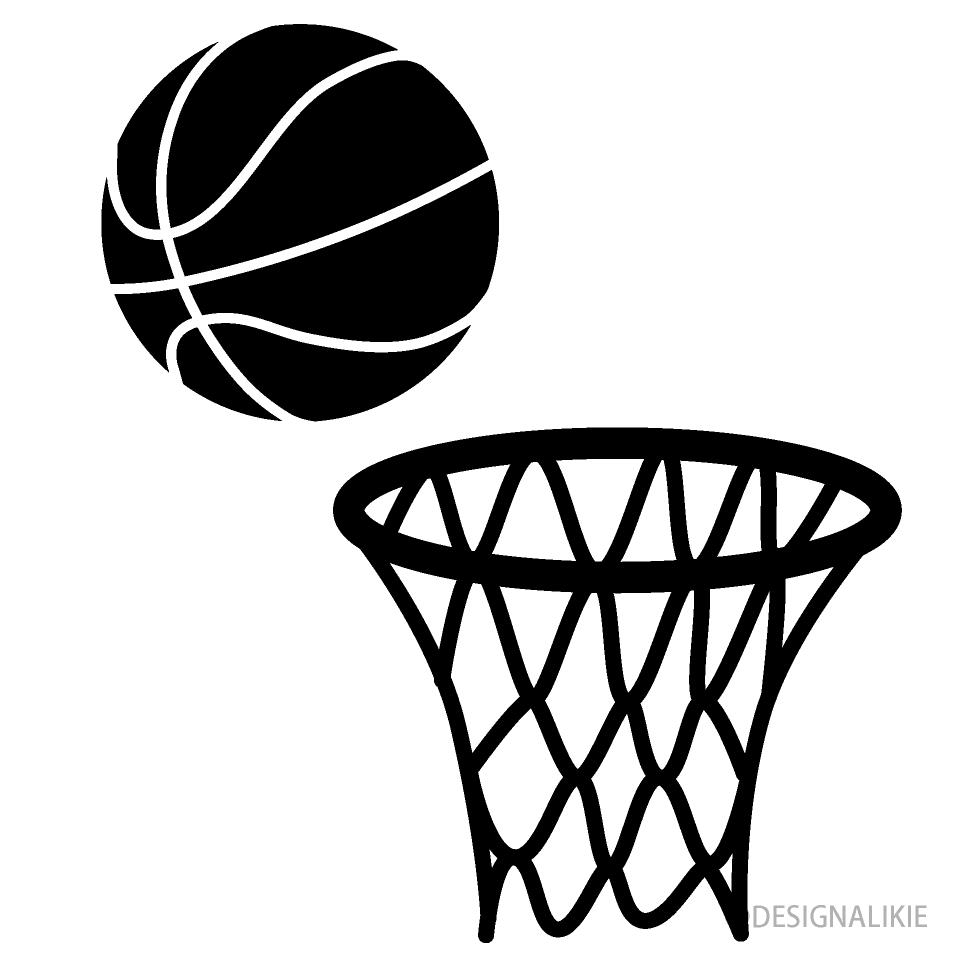 バスケットゴールとボール 白黒 の無料イラスト素材 イラストイメージ