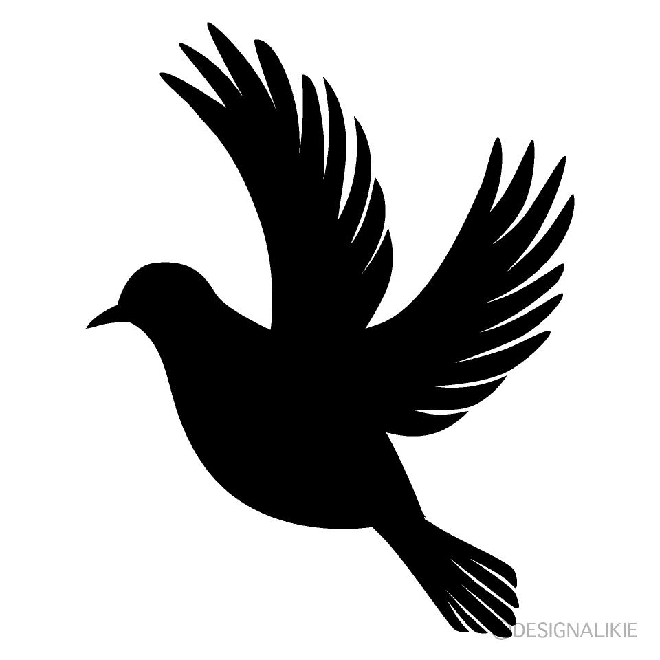 飛ぶハトのシルエットの無料イラスト素材|イラストイメージ