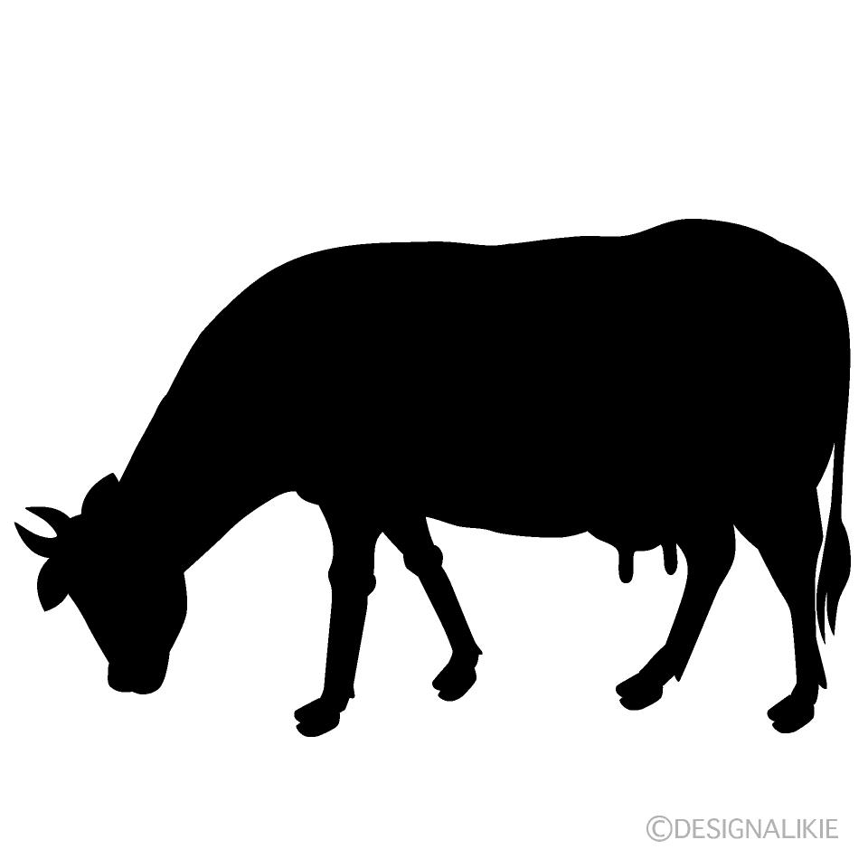 草を食べる牛シルエットの無料イラスト素材|イラストイメージ