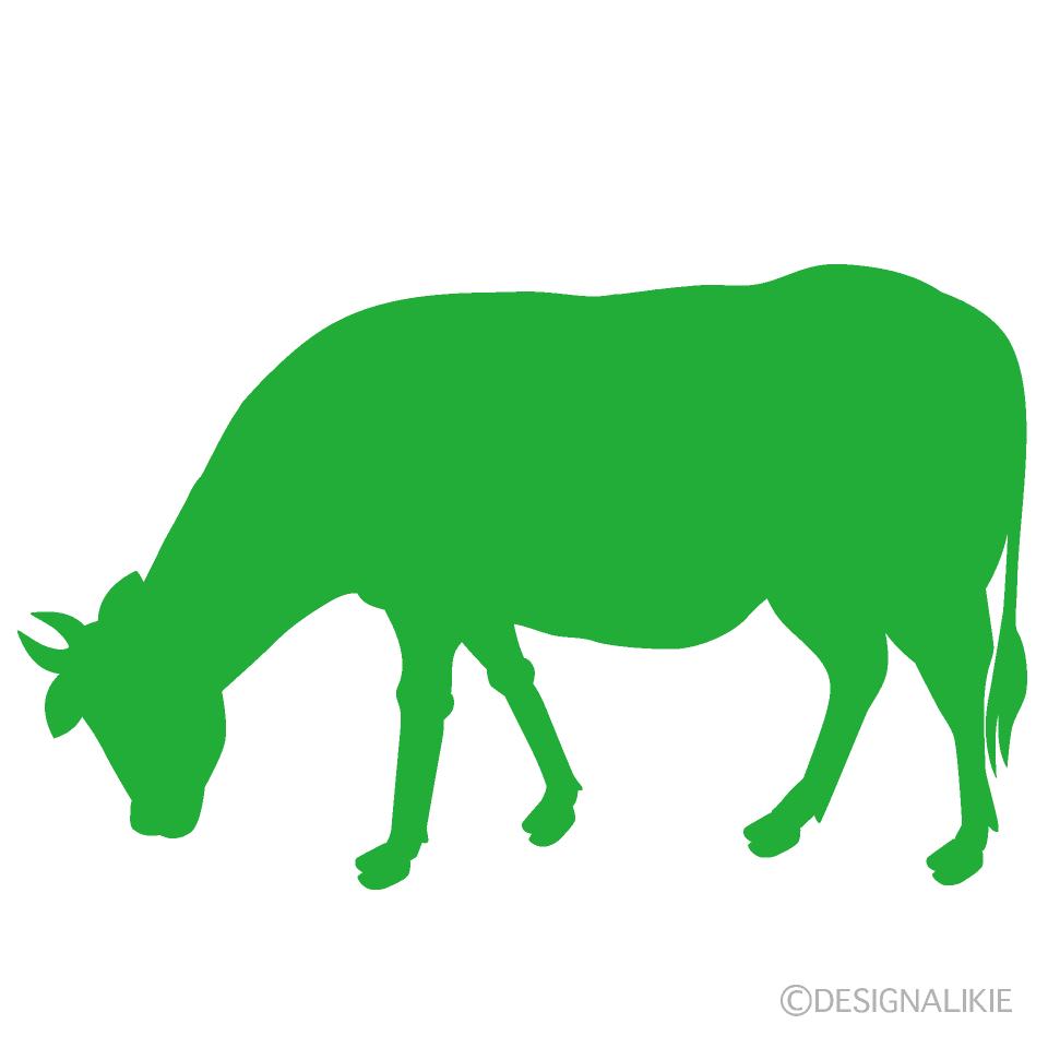 草を食べる牛の緑シルエットの無料イラスト素材|イラストイメージ