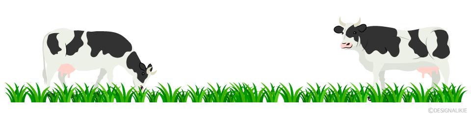 牛と牧草ラインイラストのフリー素材 イラストイメージ