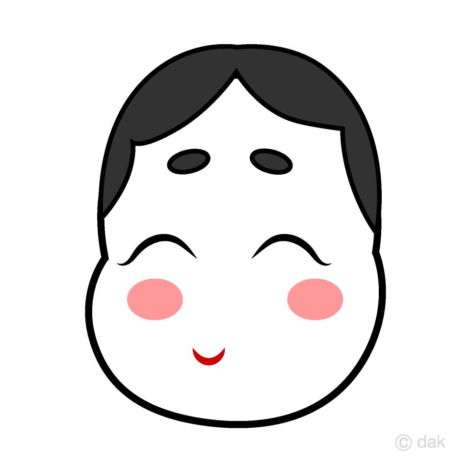 福笑いのお福さんの無料イラスト...