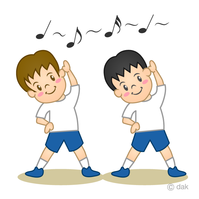 ラジオ体操をする小学生の無料イラスト素材イラストイメージ
