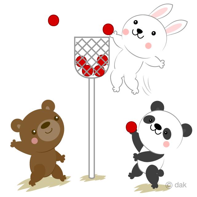 動物たちの運動会玉入れのイラスト無料素材