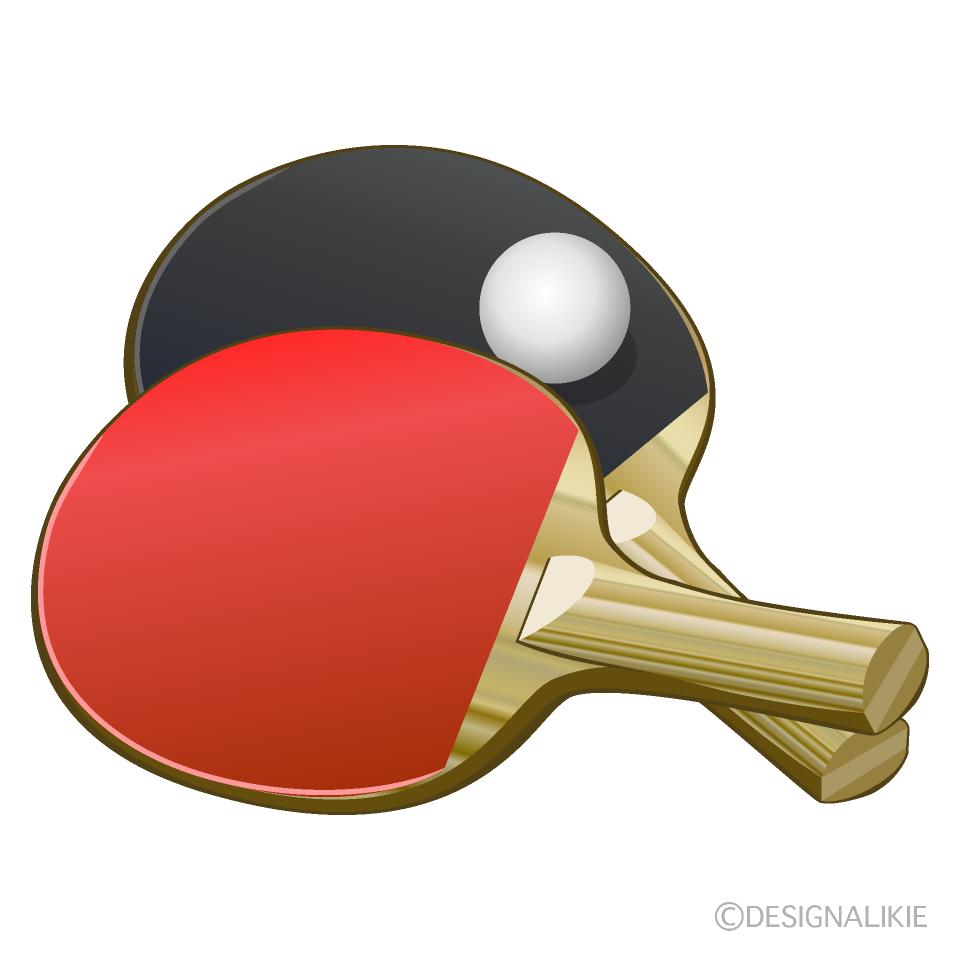 2本の卓球ラケットとピン玉の無料イラスト素材 イラストイメージ