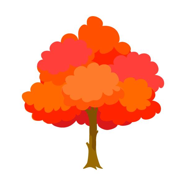 紅葉した木の無料イラスト素材イラストイメージ