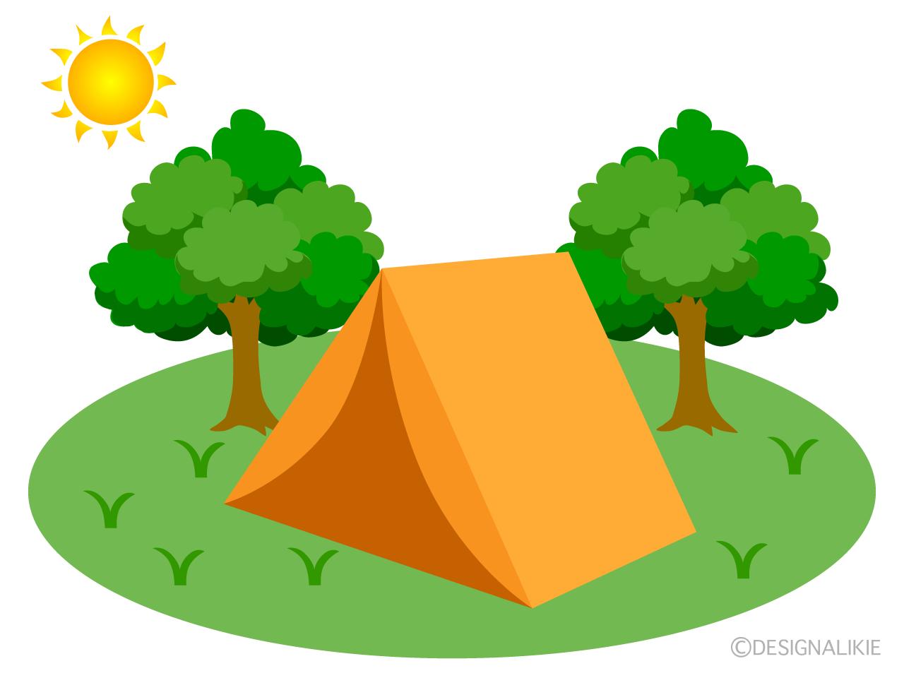 キャンプ場のテントの無料イラスト素材|イラストイメージ