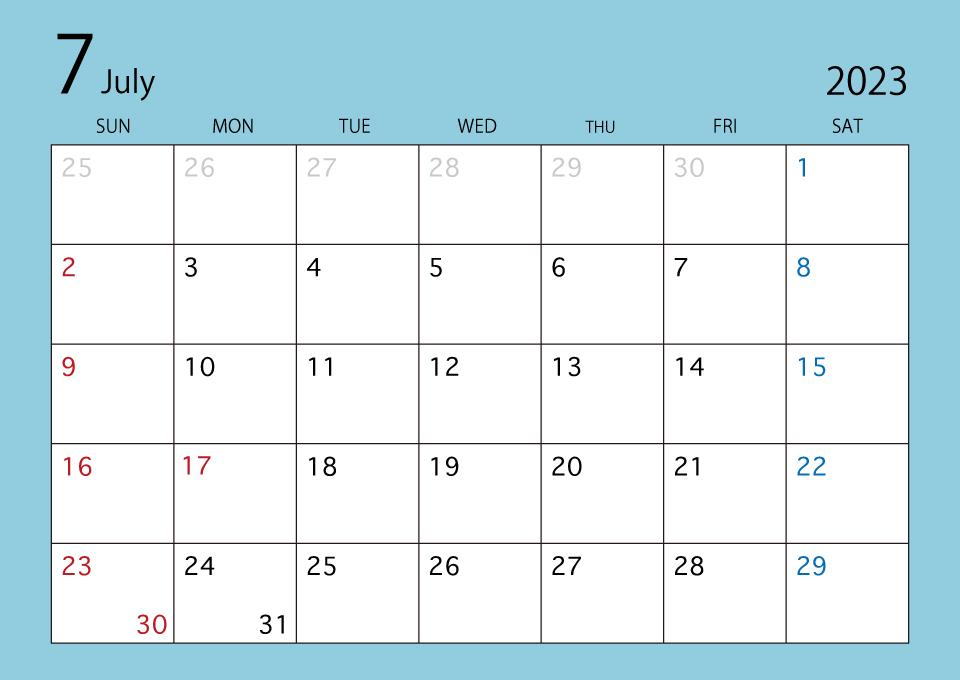 21年7月カレンダー カラー の無料イラスト素材 イラストイメージ