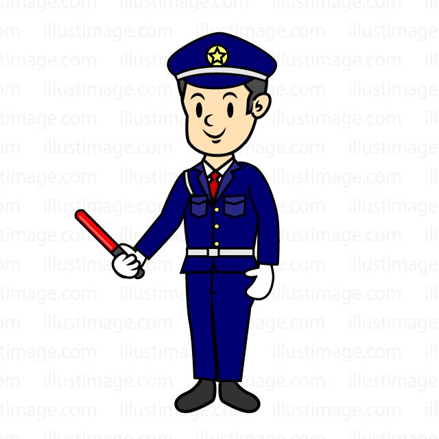 パトロールする警備員の無料イラスト素材イラストイメージ