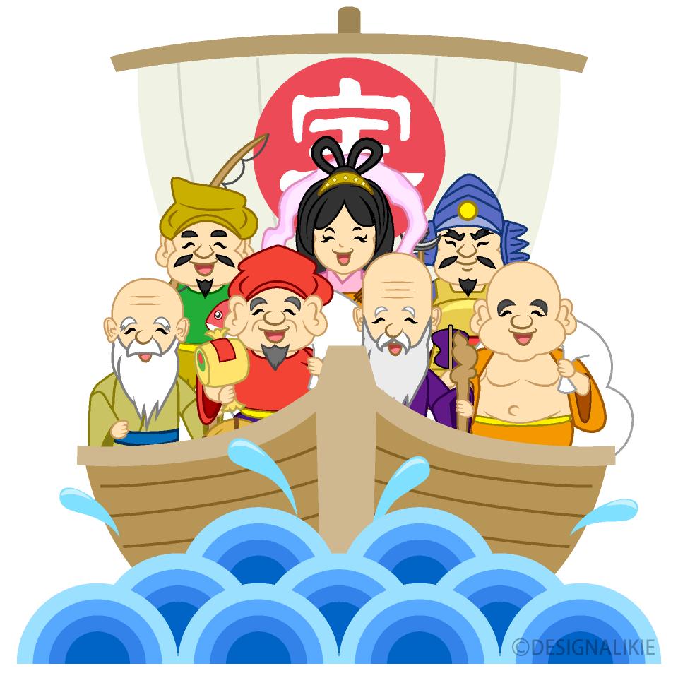 笑顔の七福神と宝船