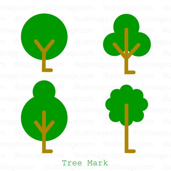 可愛い木マークの無料イラスト素材イラストイメージ