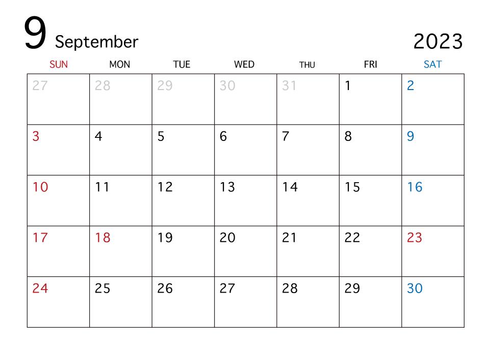 「9月 カレンダー」の画像検索結果