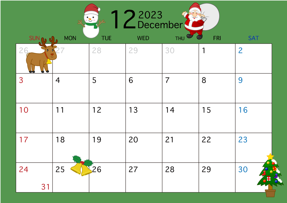 2019年12月カレンダーの無料イラスト素材|イラストイメージ