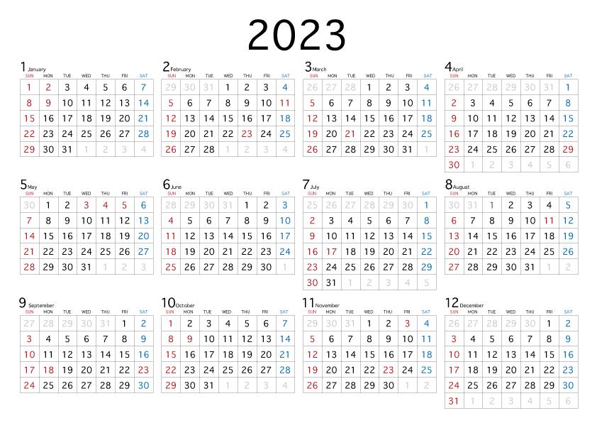 年間 カレンダー 2021