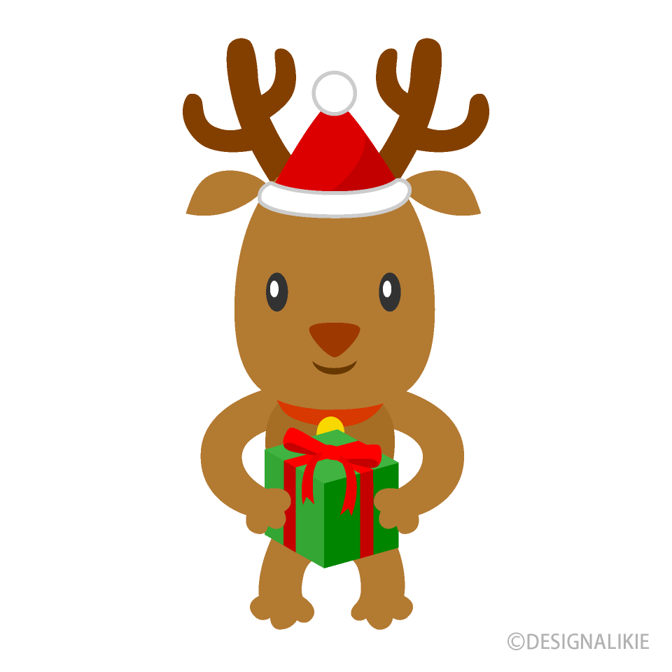 Reindeer with a Christmas gift